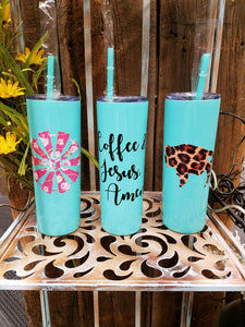 Mint 20oz Steel Tumbler w/Straw