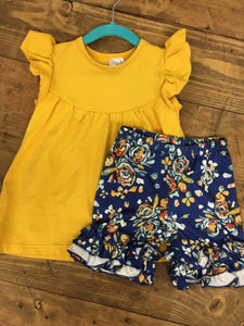 Hold the Mustard Kid's Top and Floral Shorts