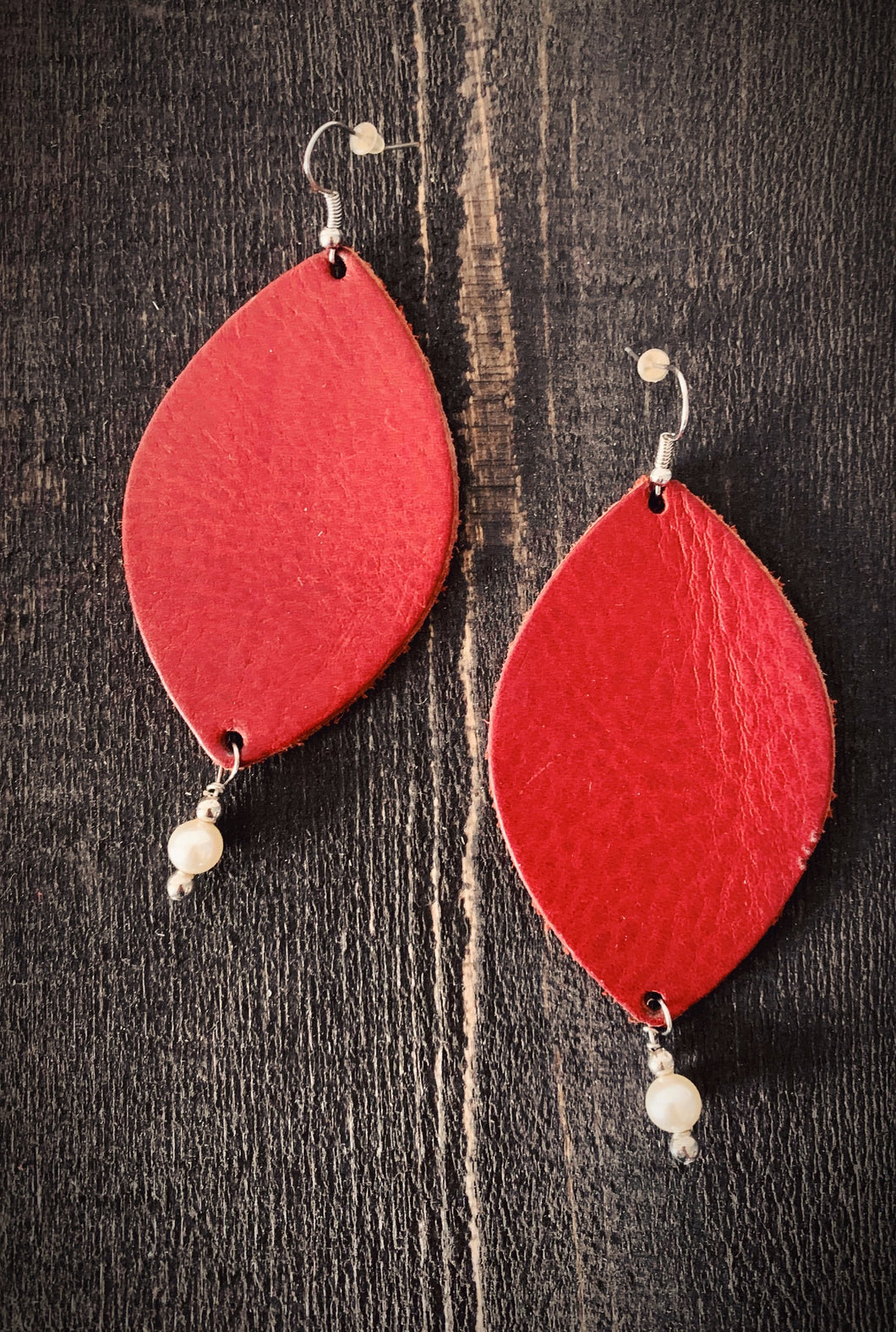 Red Leather and Pearls Danni Jo Designs Earrings