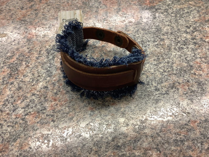Denim Fringe Leather Cuff