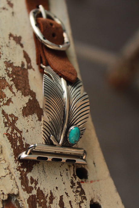 Feather W/ Turquoise by Wild Horse Watchin' Bands