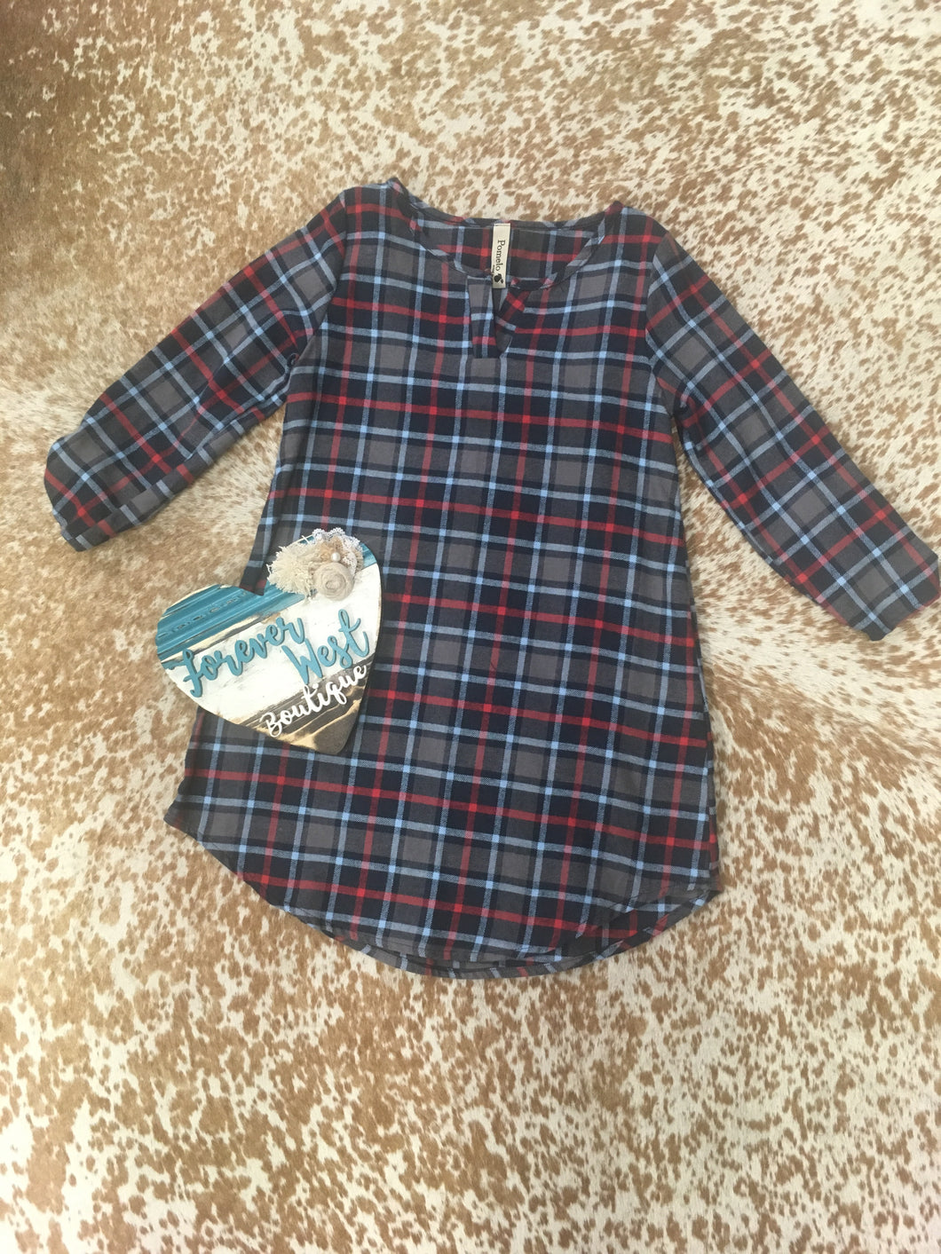 Humble and Kind Plaid Kids Dress