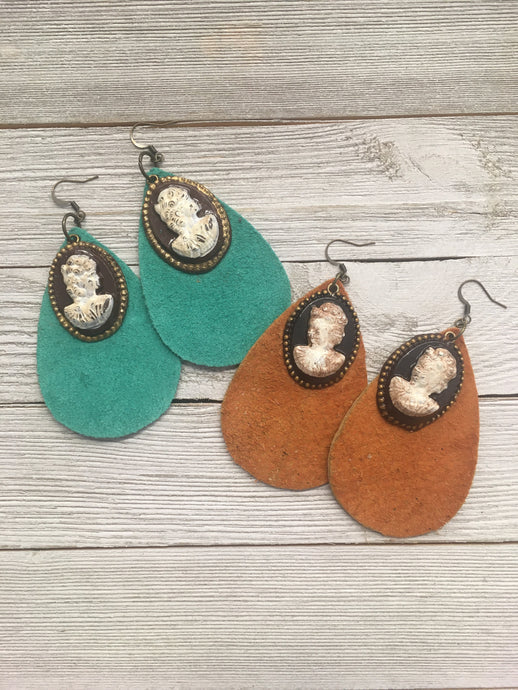 Cameo Suede Earrings