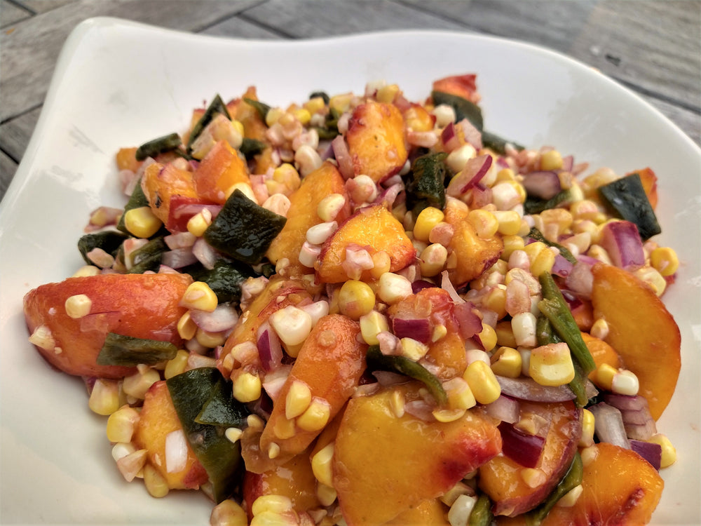 Summer's bounty - Peaches - roasted pablanos - roasted corn