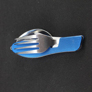 1PC Outdoor 3in1 Folding Outdoor Camping Tableware Travel Utensil Stainless Pocket Spoon Fork #FC28