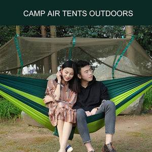 2017 Large Nylon Outdoor Hammock Parachute Cloth Fabric  Portable Camping Hammock With Mosquito Nets for 1-2 Person 260cm*130cm