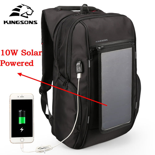 Kingsons Brand Men Backpack 10W Solar Powered Backpack Usb Charging Anti-Theft 15.6'' Laptop Backpack for Men Laptop Bagpack Bag