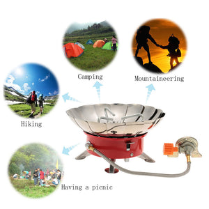 Outdoor Portable Retracted Windproof Camping Backpacking Gas Stove Camping Equipment for Long Butane Gas Cartridge
