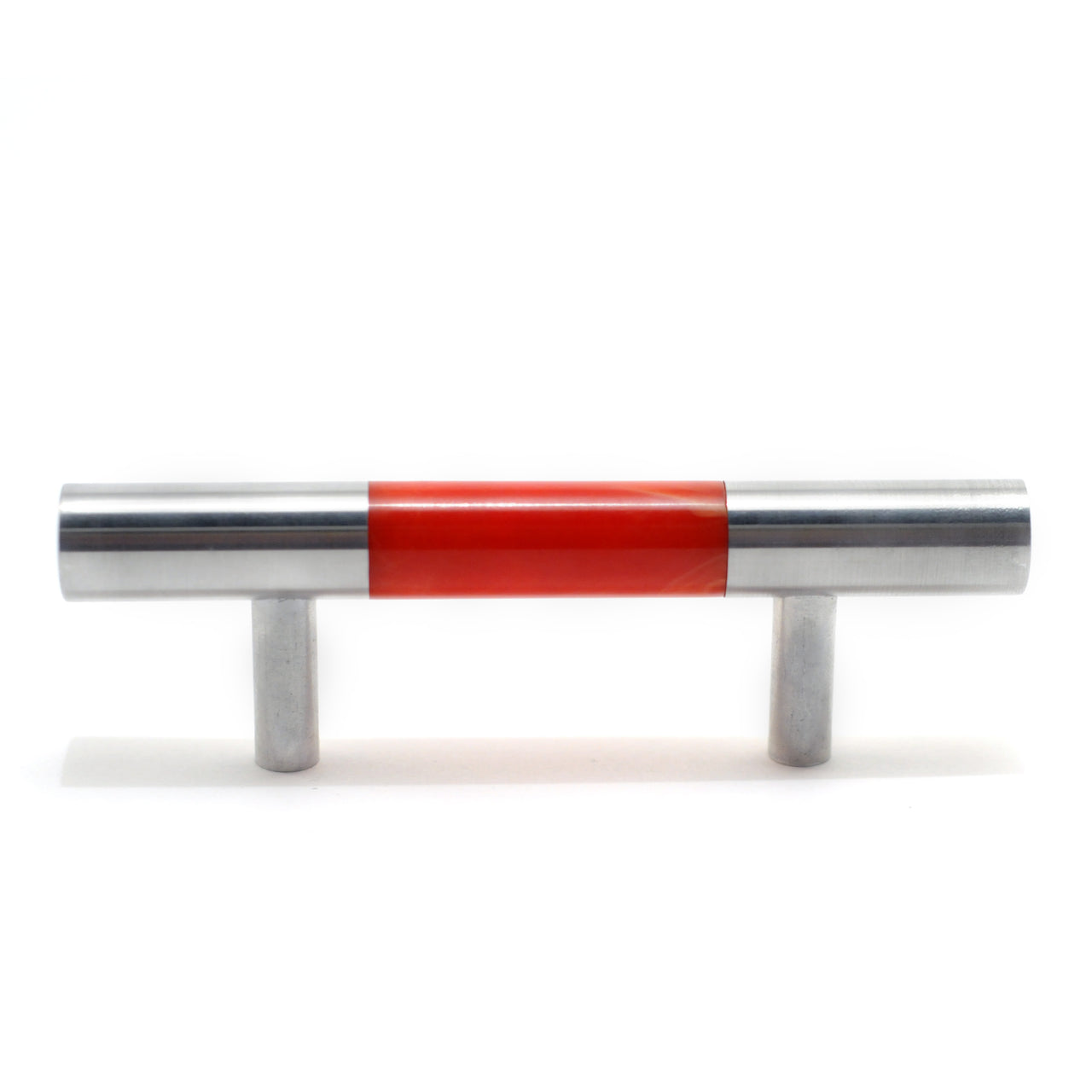 Red Bakelite & Aluminum Cabinet Handle