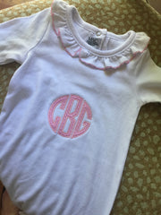 MSC baby girl gown, monogrammed with baby's initials.