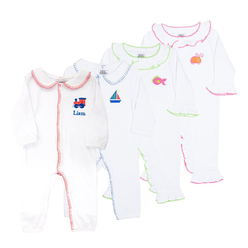 Monogrammed view of our Icon Convertible Onesies