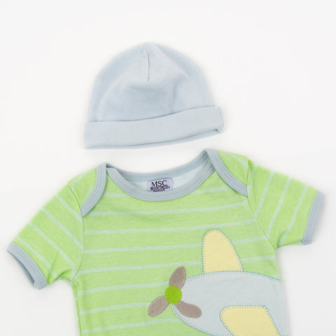 Lifestyle view of our Light Blue Baby Beanie