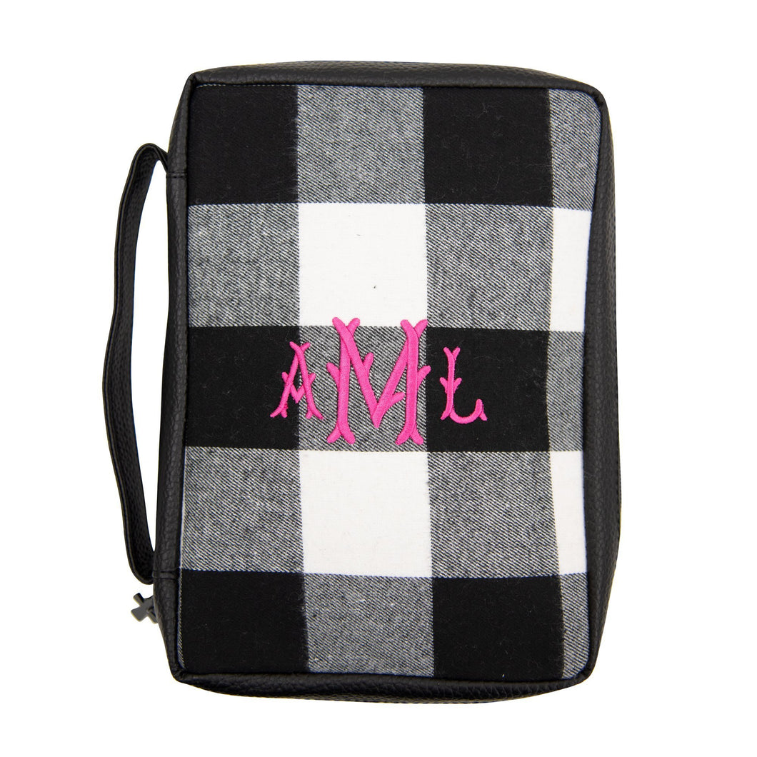 Monogrammed view of our Buffalo Check Bible Carrier