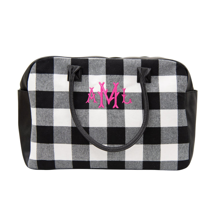 Monogrammed view of our Buffalo Check Duffle Bag