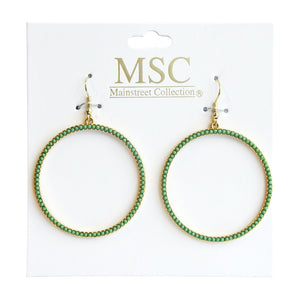 Front view of our Green Bead Circle Earrings