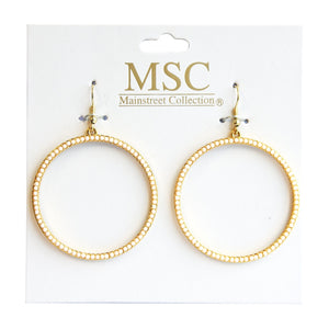 Front view of our Ivory Bead Circle Earrings