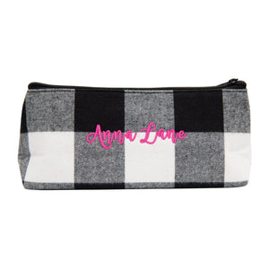 Monogrammed view of our Buffalo Check Grab 'N' Go Pouch
