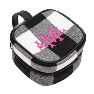 Monogrammed view of our Buffalo Check Jewelry Cube