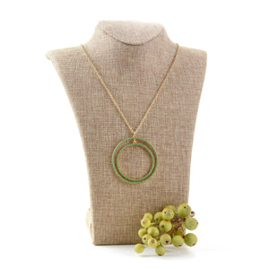 Lifestyle view of our Green Bead Circle Necklace