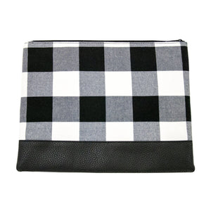 Front view of our Buffalo Check Classic Pouch
