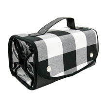 Front view of our Buffalo Check Roll Up Cosmetic Bag