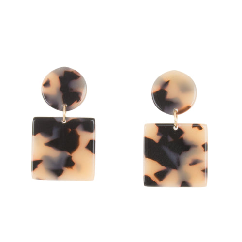Front view of our Circle Square Blonde Tortoise Earrings