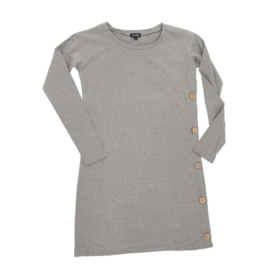 Front view of our Gray Long Sleeve Button Dress