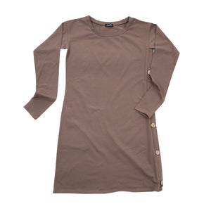 Front view of our Khaki Long Sleeve Button Dress