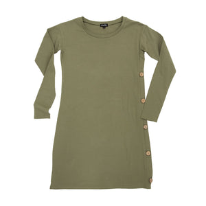 Front view of our Olive Long Sleeve Button Dress