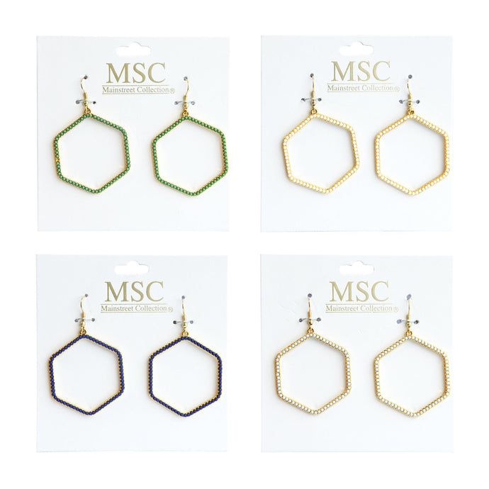 Front view of our Bead Hexagon Earrings