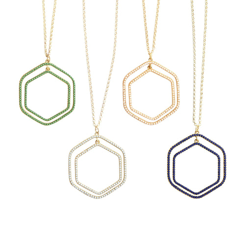 Front view of our Bead Hexagon Necklaces