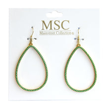 Load image into Gallery viewer, Front view of our Green Bead Teardrop Earring