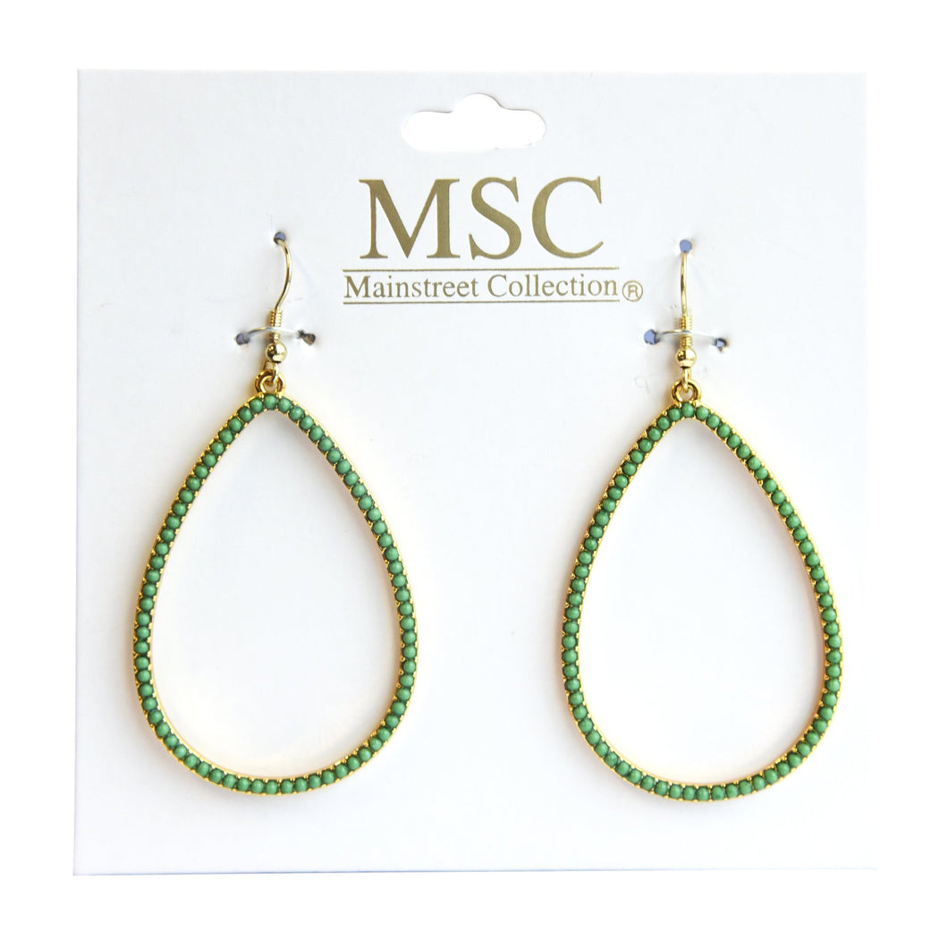 Front view of our Green Bead Teardrop Earring