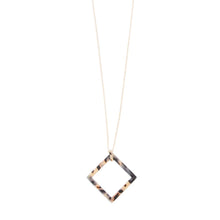 Load image into Gallery viewer, Front view of our Square Frame Blonde Tortoise Shape Necklace