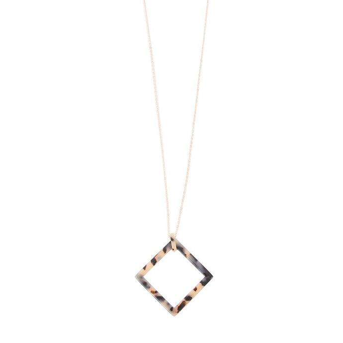 Front view of our Square Frame Blonde Tortoise Shape Necklace