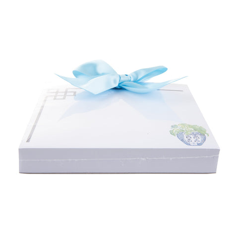 Side view of our Turquoise Leaf Southern Blooms Bow Notepad