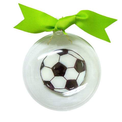 Front view of our Soccer Icon Bubble Ornament
