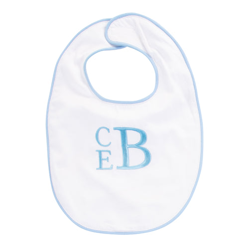 Monogrammed Blue Piping Bib