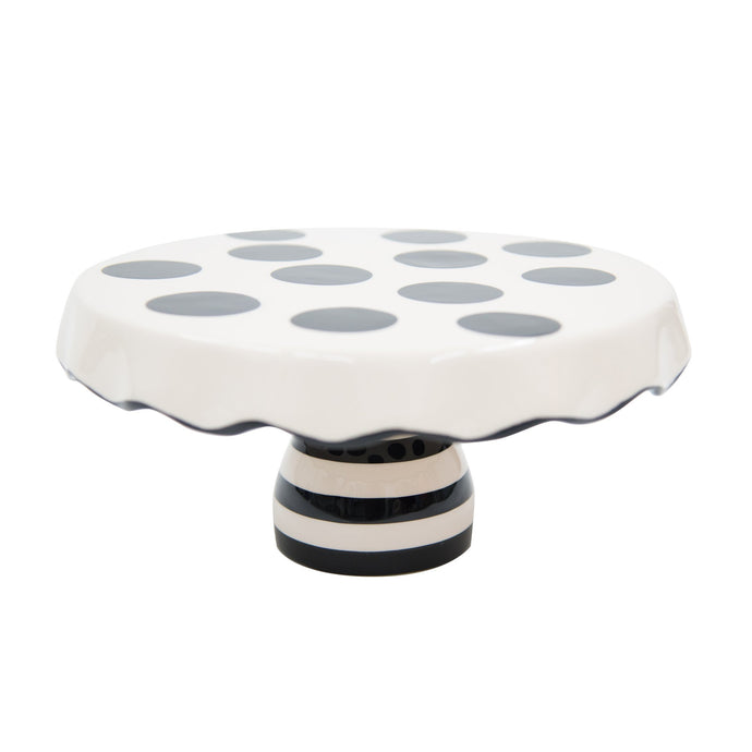 Side view of our Black Dot Chip and Dip Cake Stand