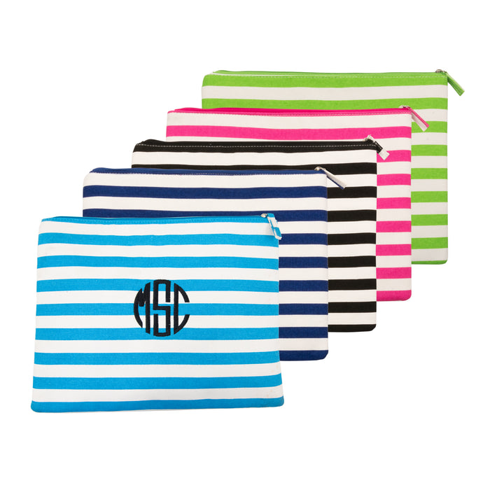 Monogrammed view of our Stripe Family Pouches