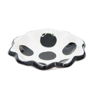 Side view of our Black Dot Spoon Rest