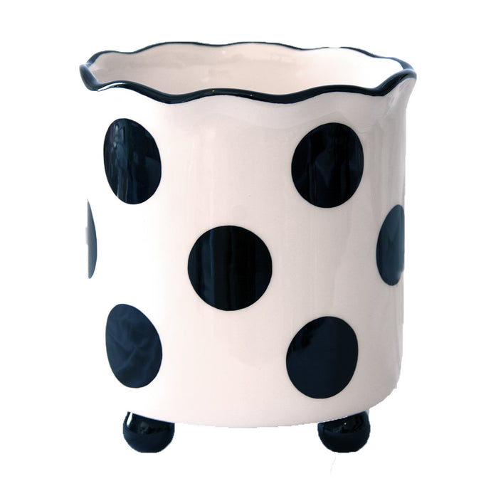 Side view of our Black Dot Utensil Holder