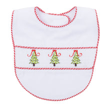 Load image into Gallery viewer, Front view of our Holiday Christmas Tree Smocked Bib