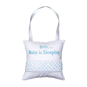Front view of our Blue Shh Hanging Pillow