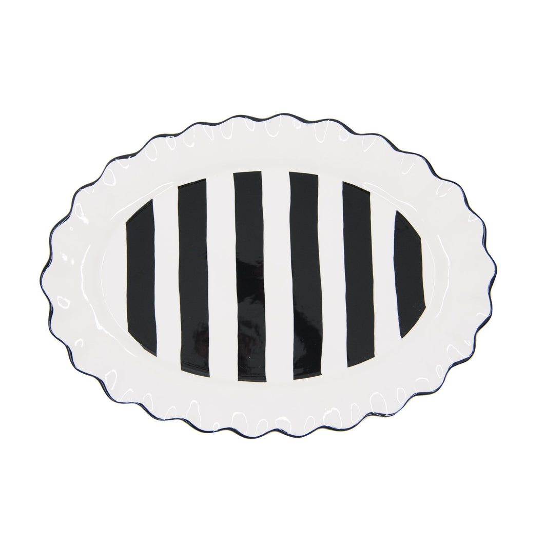 Top view of our Black Stripe Oval Platter
