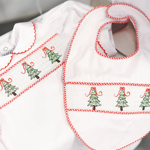 Lifestyle view of our Holiday Christmas Tree Smocked Bib