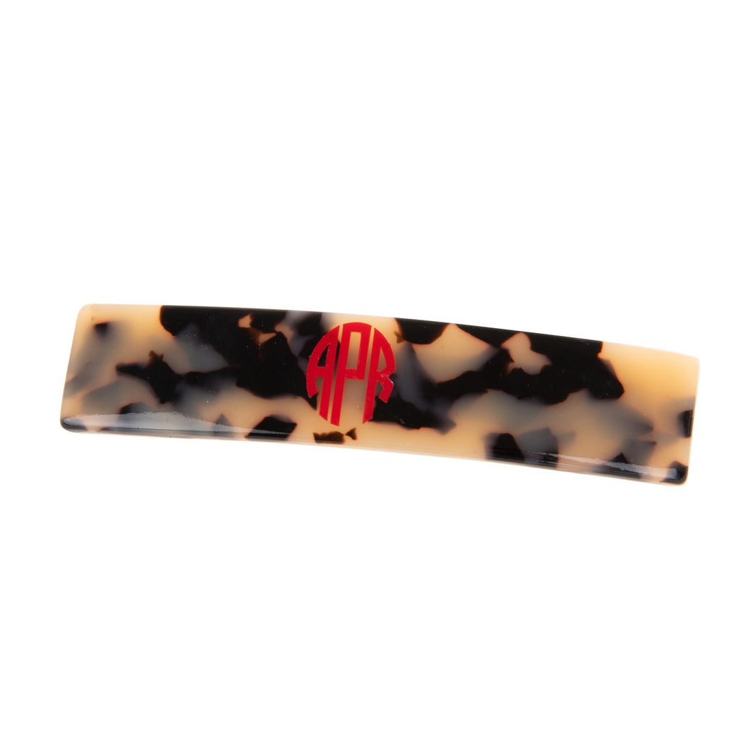 Monogrammed view of our Blonde Tortoise Long Hair Barrette
