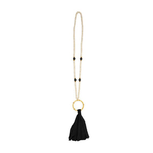 Front view of our Black Bamboo Tassel Necklace