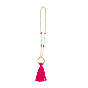Front view of our Pink Bamboo Tassel Necklace