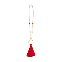Front view of our Red Bamboo Tassel Necklace